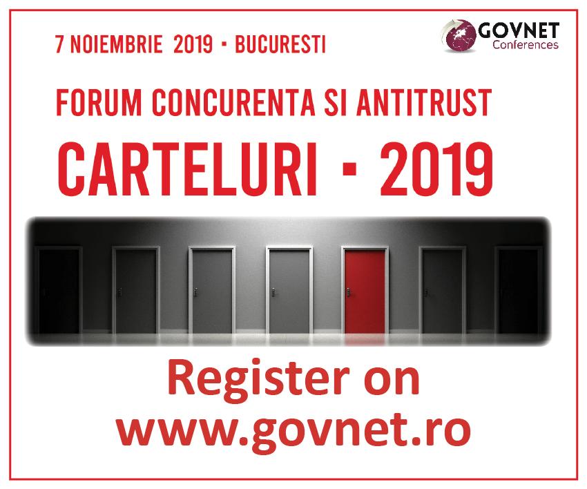 Forumul Roman de Concurenta si Antitrust - Carteluri 2019 aduce in dezbatere aspecte de conformare cu legislatia si reglementarile antitrust din Romania, evaluarea riscurilor si analiza provocarilor din domeniu.